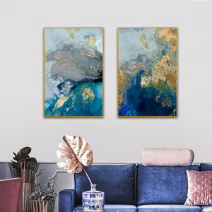 Vicky Yao Wall Decor - Luxury Marble Blue And Gold 2 Sets Canvas Prints