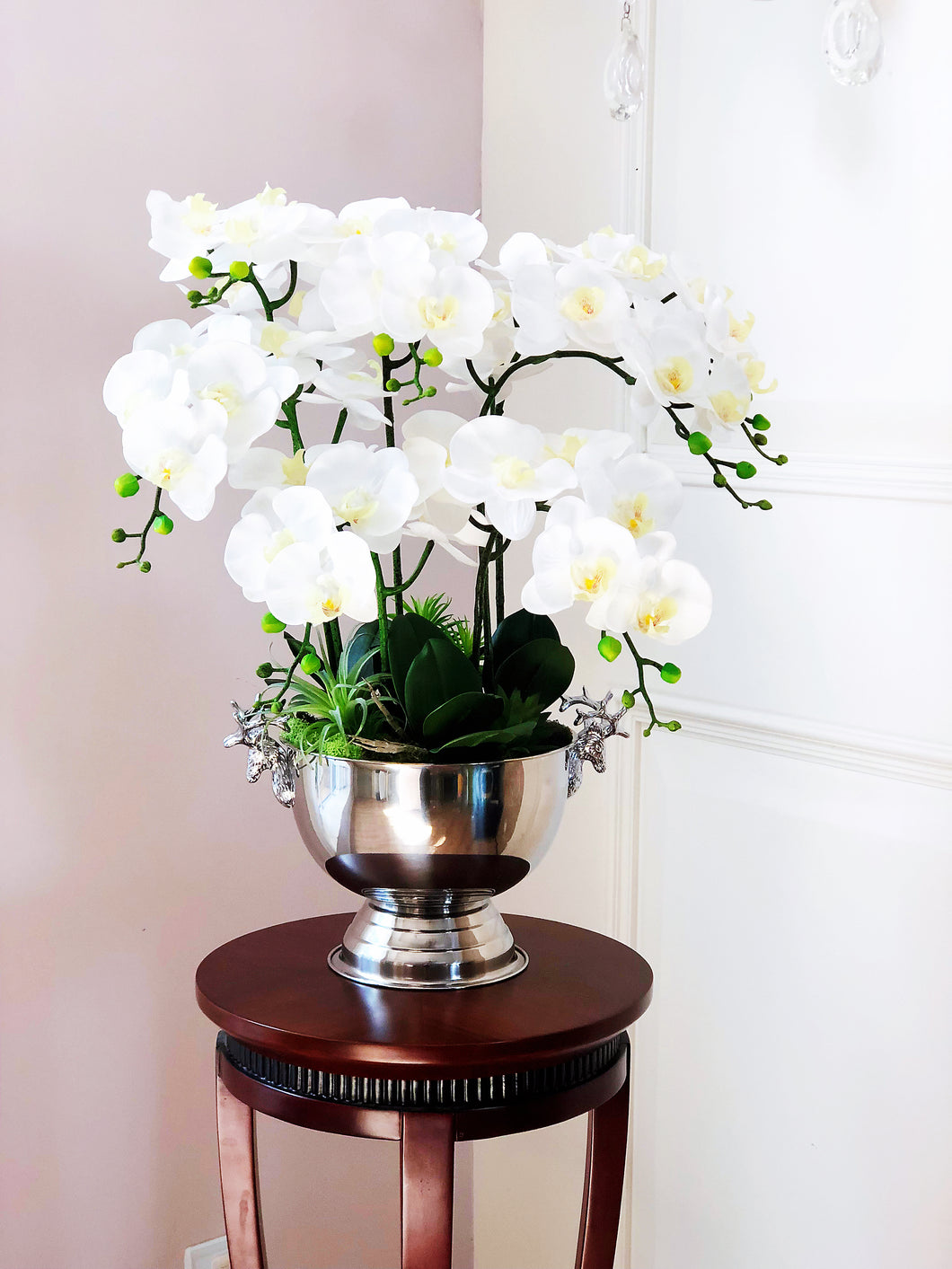 Vicky Yao Faux Floral - Exclusive Design Silver Real Touch Artificial Orchid Arrangement In Deer Pot