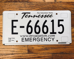Tennessee Emergency License Plate