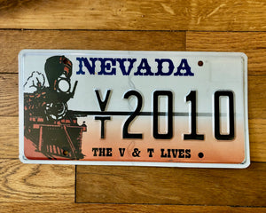 "Nevada ""The V & T Lives"" License Plate"
