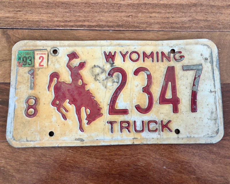 Wyoming Truck Bucking Bronco License Plate