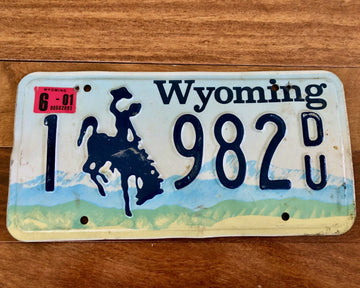 2001 Wyoming Bucking Bronco License Plate