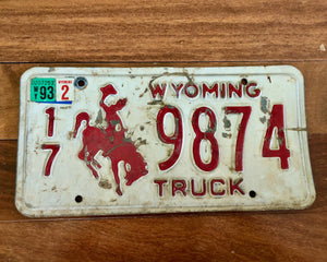 1993 Truck Wyoming Bucking Bronco License Plate