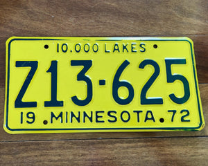 1972 Minnesota License Plate