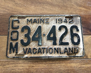 1942 Maine License Plate