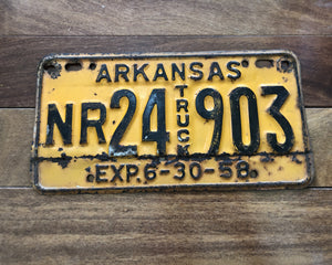 1958 Arkansas Truck License Plate