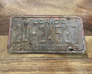 1968/69 Rusty Florida License Plate