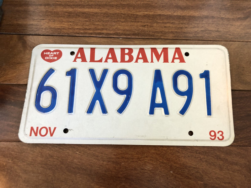 1993 Alabama License Plate