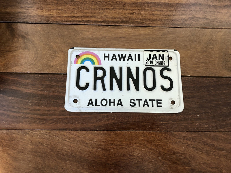 Hawaii Motorcycle License Plate. Vanity: CRNNOS