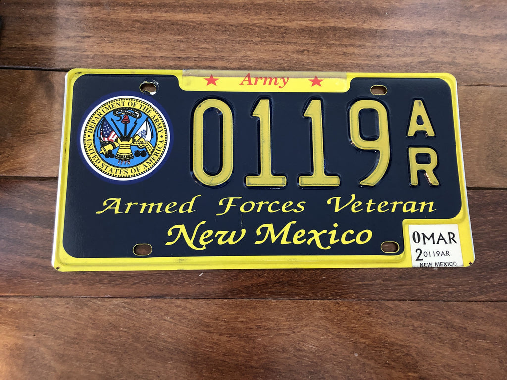 "2002 New Mexico Army ""Armed Forces Veteran License Plate"""