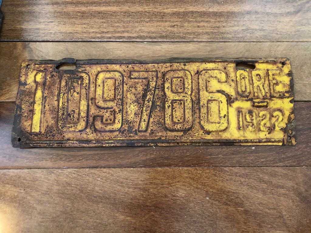1922 Oregon License Plate