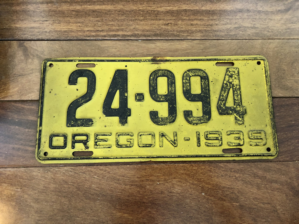 1939 Oregon License Plate