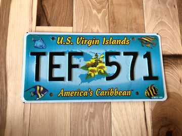 US Virgin Islands License Plate with Fish