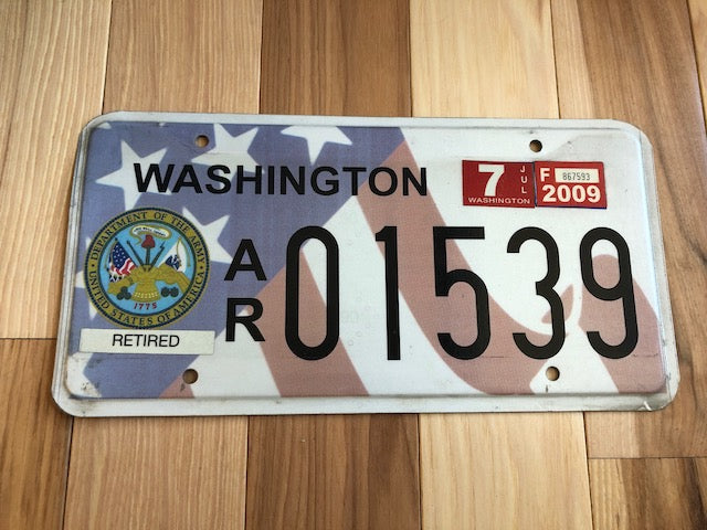 2009 Washington State Army Veteran License Plate