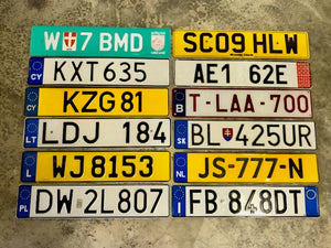 Choice European License Plates. Many Countries Included: Austria, UK (Great Brittain), Cyprus, Germany, Belgium, Lithuania, Luxembourg, Slovakia, Netherlands, Poland, Italy, Romania, Ireland.