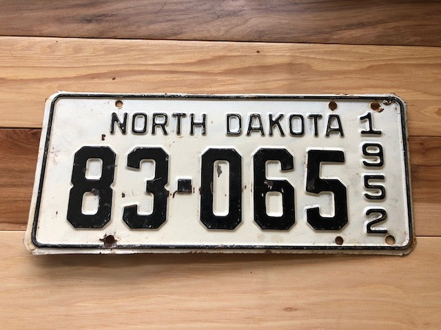 1952 North Dakota License Plate