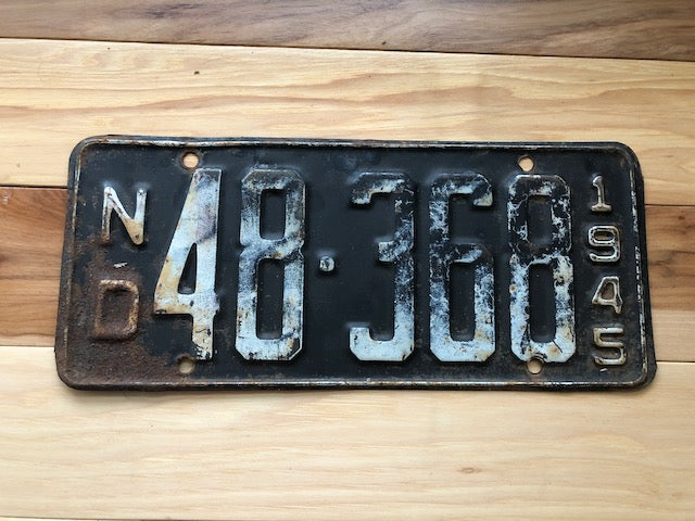 1945 North Dakota License Plate
