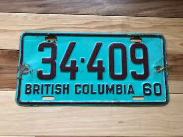 1960 British Columbia License Plate
