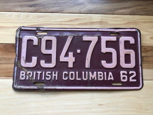 1962 British Columbia License Plate