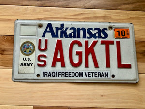 Arkansas Army Iraqi Freedom Veteran License Plate