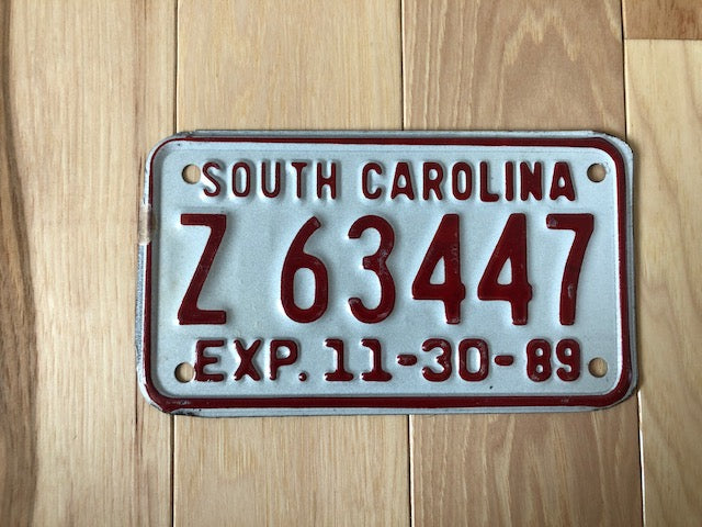 1989 South Carolina Motorcycle License Plate