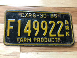 1995 Arkansas Farm Products License Plate