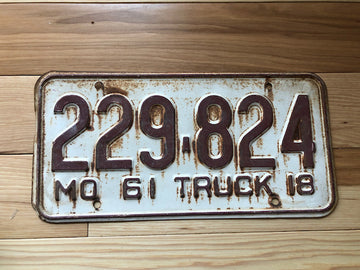 1961 Missouri Truck License Plate