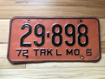 1972 Missouri Truck License Plate