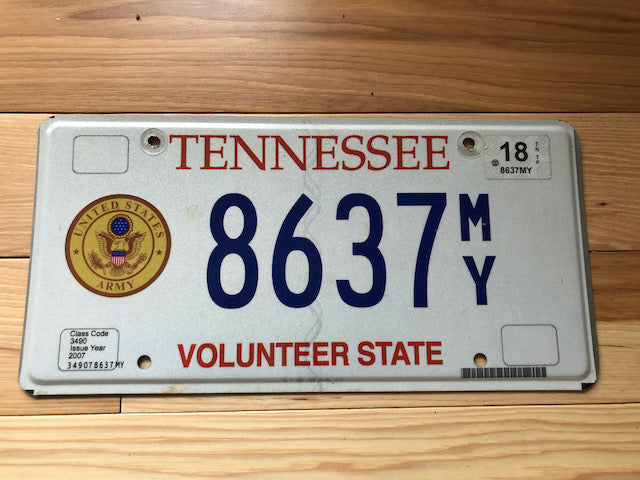 Tennessee Army License Plate