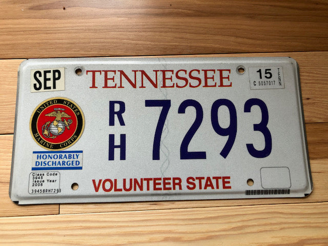 Tennessee Marine Corps Honorably Discharged License Plate