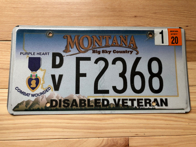 Montana Purple Heart Disabled Veteran License Plate