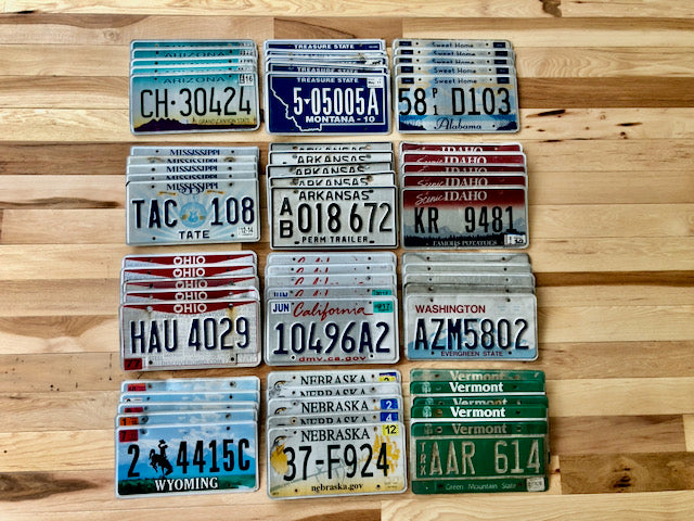 Bulk Lot of 60 License Plates from 12 Different States - 5 of Each State