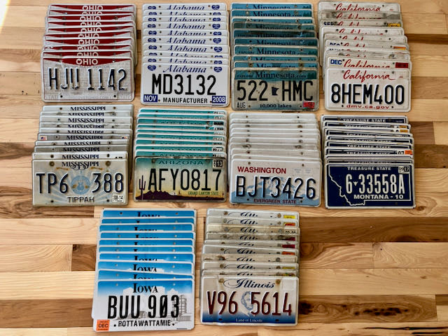 Bulk lot of 100 License Plates- 10 of Each State in Craft Condition