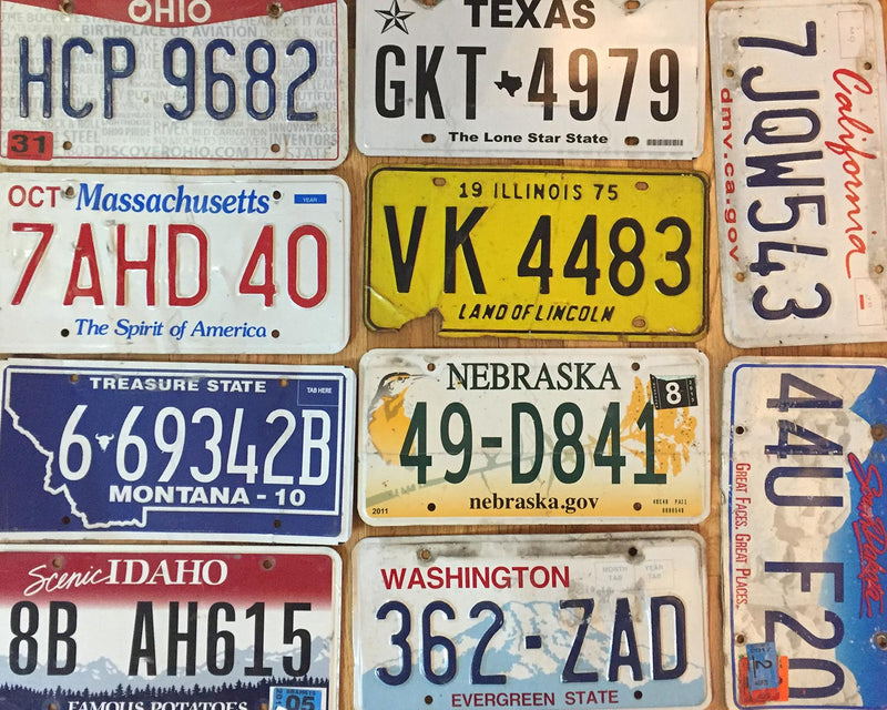 Set of craft condition license plates.