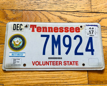 Tennessee Retired Navy License Plate