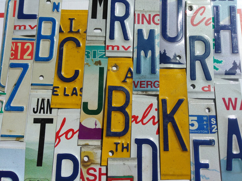 Flat & Embossed License Plate Letters and Numbers