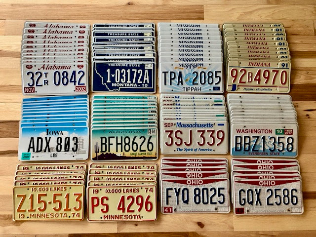Wholesale lot of 100 License Plates- 10 of Each State in Good Condition