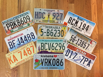 Kids Themed License Plate Set with 10 Plates from 10 Different States. Cool License plates with great colors and designs.