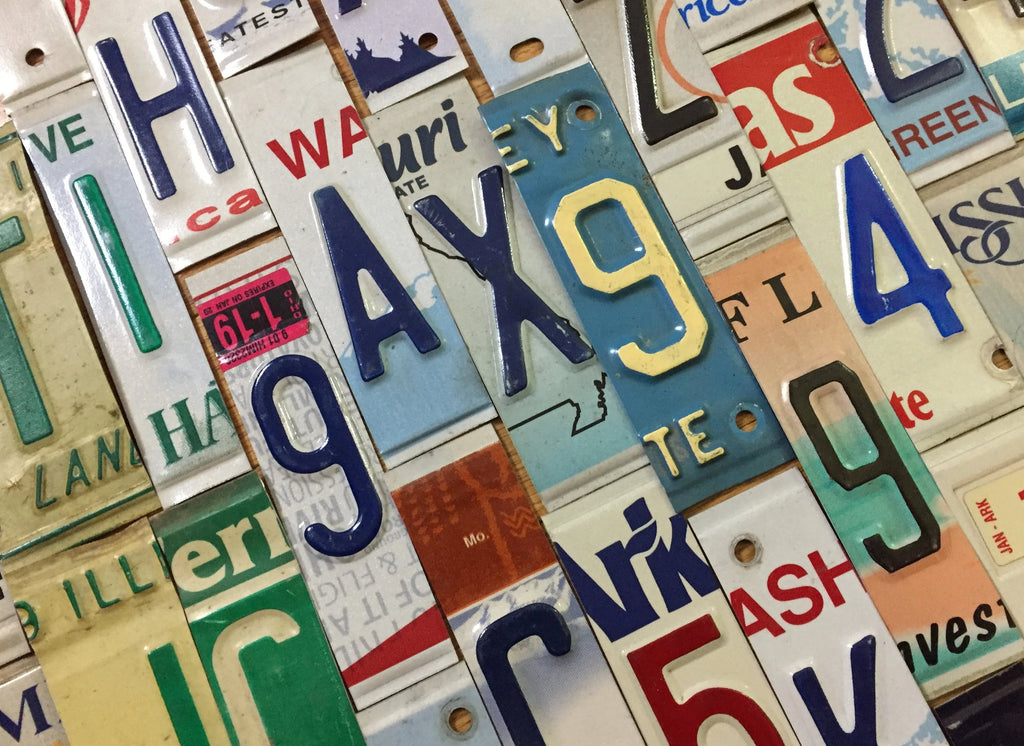 Embossed License Plate Letters and Numbers