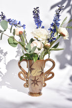 Load image into Gallery viewer, Butterfly Vase in Walnut with Quilted Stars
