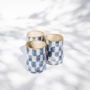 Blue Checkered Tall Cup