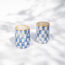 Load image into Gallery viewer, Blue Checkered Tall Cup