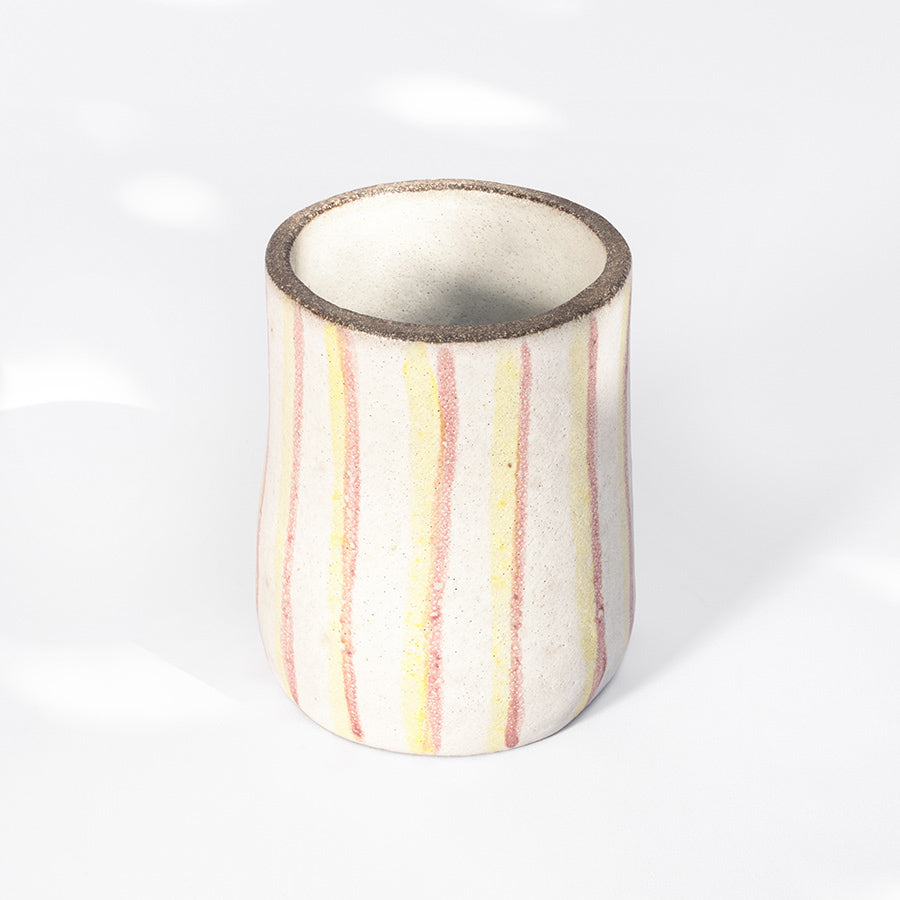 Pink & Yellow Striped Tall Cup
