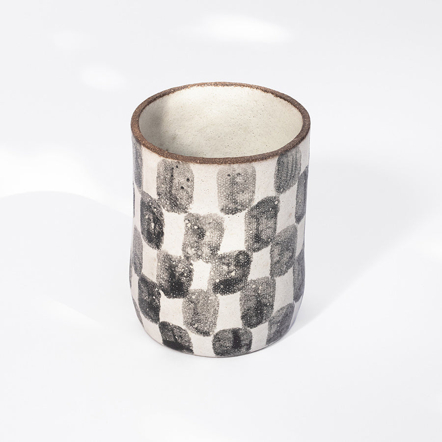 Checkered Tall Cup in Black