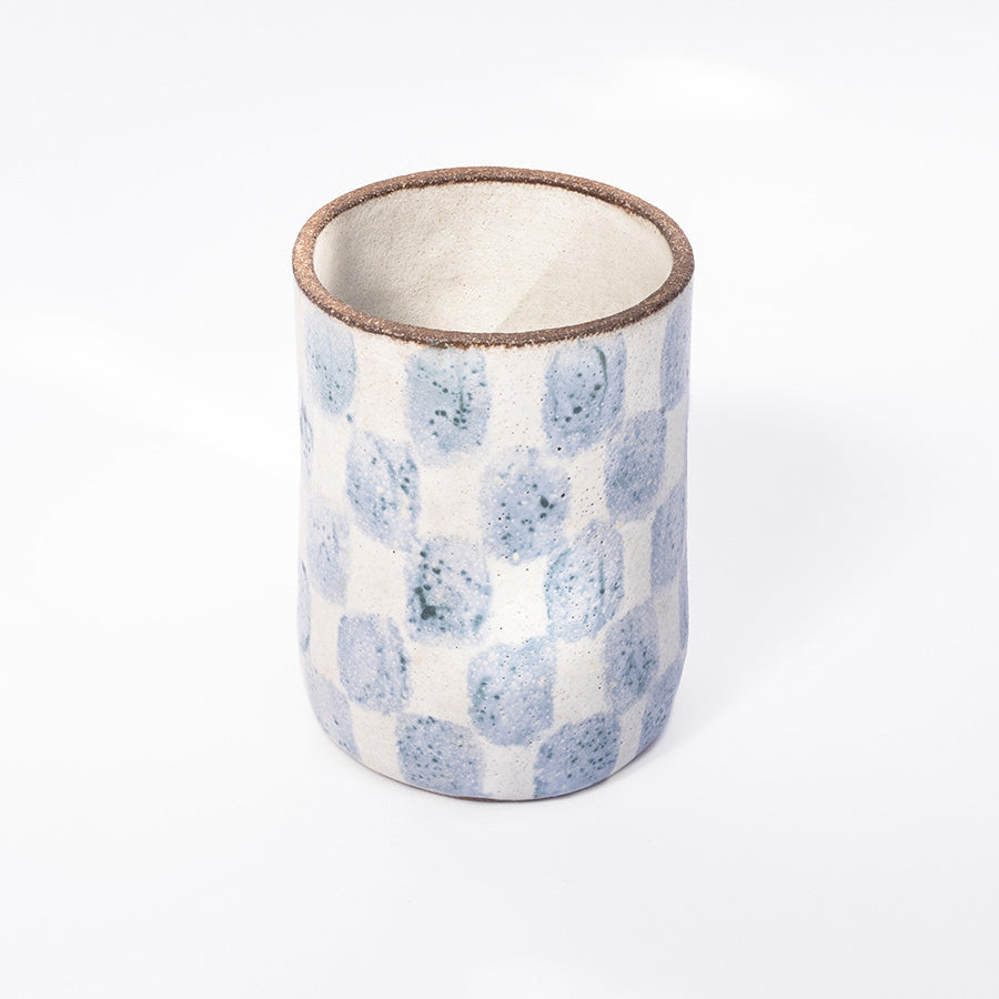 Checkered Tall Cup in Blue