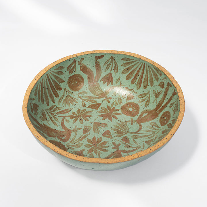 Gardener's Shallow Soup Bowl in Olive & Caramel