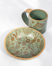 Load image into Gallery viewer, Gardener's Shallow Soup Bowl in Olive & Caramel