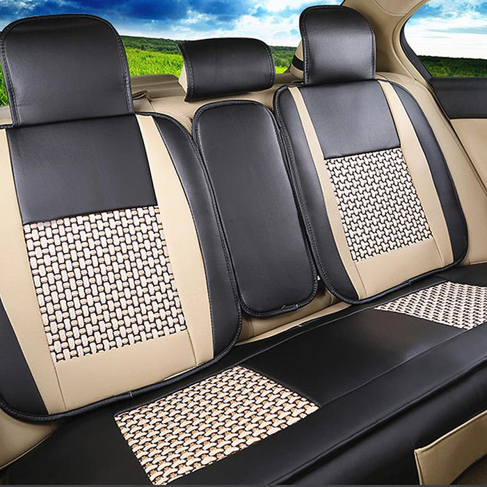 Car leather seat cover with cushion