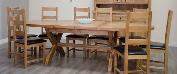 Warwick Oak Extending Oval X Leg Table