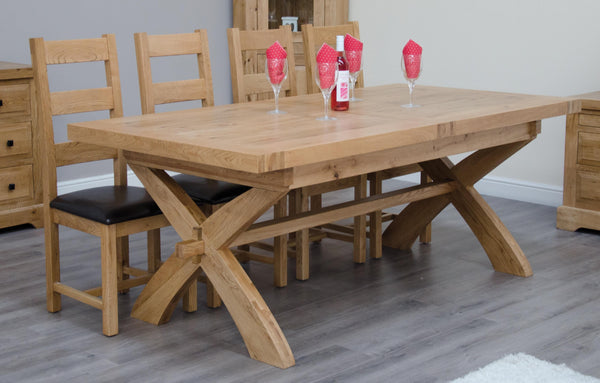 Warwick Oak Extending X Leg Table